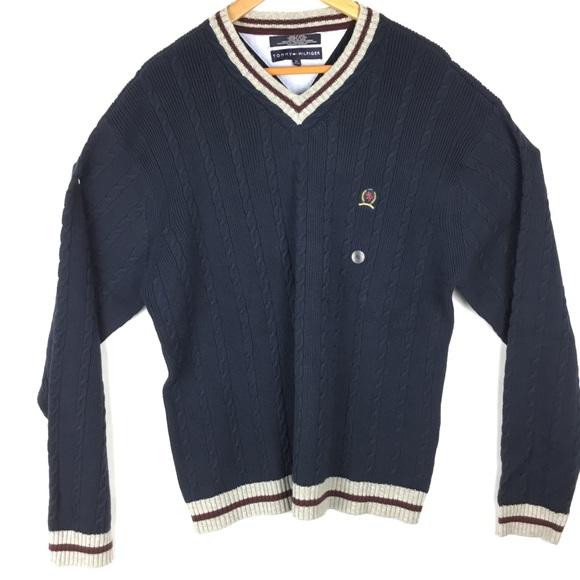 Tommy Hilfiger Other - Tommy Hilfiger Mens Navy Cable Knit Sweater Vneck
